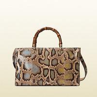 古驰Gucci bamboo shopper彩色蟒蛇皮购物袋