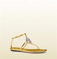 古驰Gucci 2015夏 GG闪亮金属质感皮革夹趾凉鞋