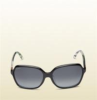 古驰Gucci 真丝花卉印花方形镜框太阳眼镜