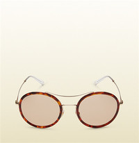 古驰Gucci 哈瓦那超轻醋酸纤维圆形镜框太阳眼镜