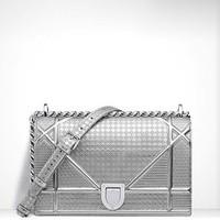 迪奥 Diorama银色穿孔小牛皮覆盖式手提包