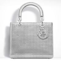 迪奥Lady Dior银色穿孔小牛皮手提包