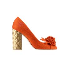 香奈儿Chanel 花织毛毡浅口高跟鞋