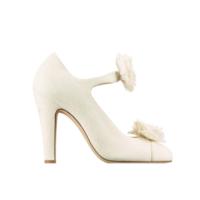 香奈儿Chanel 毛毡羊毛布浅口高跟鞋