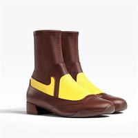 迪奥Dior 棕色和黄色皮革短靴