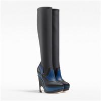 迪奥Dior GRIS FONCé色和蓝色皮革长靴