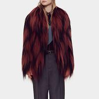 古驰Gucci 钻石图案手工编织长毛山羊皮大衣