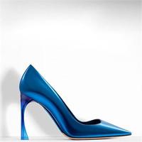 迪奥Dior 蓝色金属光泽小牛皮高跟鞋