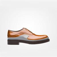 普拉达Prada 烟灰色小牛皮革系带单鞋