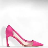 迪奥Dior FUCHSIA色麂皮和网格布高跟鞋