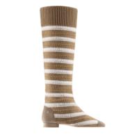 香奈儿Chanel 条纹针织及麂皮效果小牛皮靴子