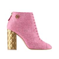 香奈儿Chanel 花织毛毡短靴