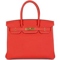 爱马仕(Hermès)M牡丹粉2R皮質金扣手提包