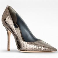 迪奥Dior 金色蟒蛇皮高跟鞋