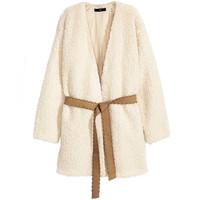 H&M 系带毛绒外套