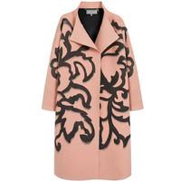 玛百莉 玫瑰花纹羊毛大衣