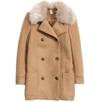 H&M 羊毛混纺圈绒大衣