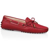 Tod's 女士红色牛皮豆豆鞋