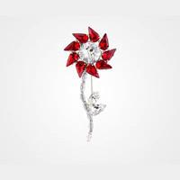普拉达Prada 宝石红水晶花朵胸针