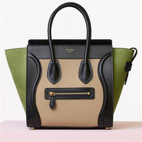 赛琳(Celine)MICRO LUGGAGE拼色手提包