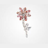 普拉达Prada 玫瑰红水晶花朵胸针
