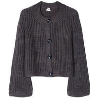 爱马仕(Hermès)绿紫色羊毛女士短款开衫