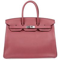 爱马仕(Hermès)玫瑰茶粉色皮质手提包