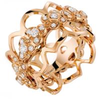 尚美(Chaumet)Hortensia 18K玫瑰金镶钻宽戒指