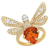 尚美(Chaumet)18K黄金镶钻蜜蜂戒指
