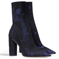 迪奥Dior 海蓝色花朵提花面料短靴