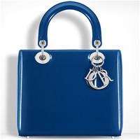 迪奥Dior 蓝色珠光漆皮牛皮包袋