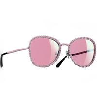 香奈儿Chanel 金属质感人造珍珠太阳眼镜