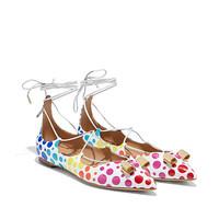 菲拉格慕 漆皮系带平底鞋