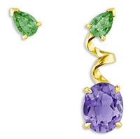 迪奥Dior 镶嵌紫水晶和祖母绿耳环