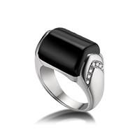 宝格丽Bvlgari MVSA黑色缟玛瑙钻石戒指