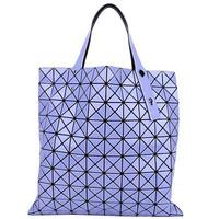 三宅一生 紫色三角拼接女士手提包
