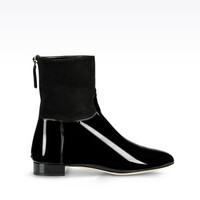阿玛尼 秀场款麂皮漆皮鞋款