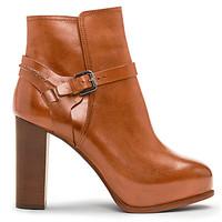 拉夫·劳伦 女士棕色高跟及踝靴