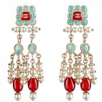 香奈儿Chanel 金属树脂珍珠耳环