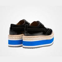 普拉达Prada 黑色磨砂皮系带Derby鞋