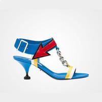 普拉达Prada 上光山羊皮链条装饰凉鞋