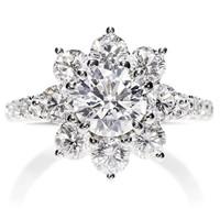 海瑞温斯顿铂金钻石戒指