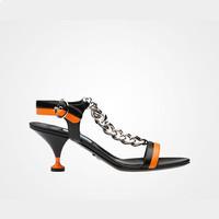 普拉达Prada 黑色山羊皮链条装饰凉鞋
