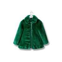 阿玛尼GIORGIO ARMANI 绿色仿皮草女童外套