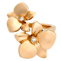 卡地亚Cartier 18K玫瑰金钻石花朵戒指