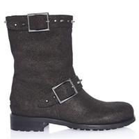 Jimmy Choo 黑色鞣皮材质中筒靴