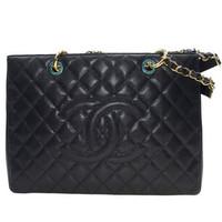 香奈儿Chanel 黑色牛皮金链单肩包