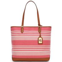 拉夫·劳伦(Ralph Lauren)拼接粉色条纹手提包