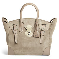拉夫·劳伦(Ralph Lauren)女士麂皮搭扣手提包