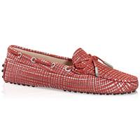 Tod's 小山羊皮红色豆豆鞋